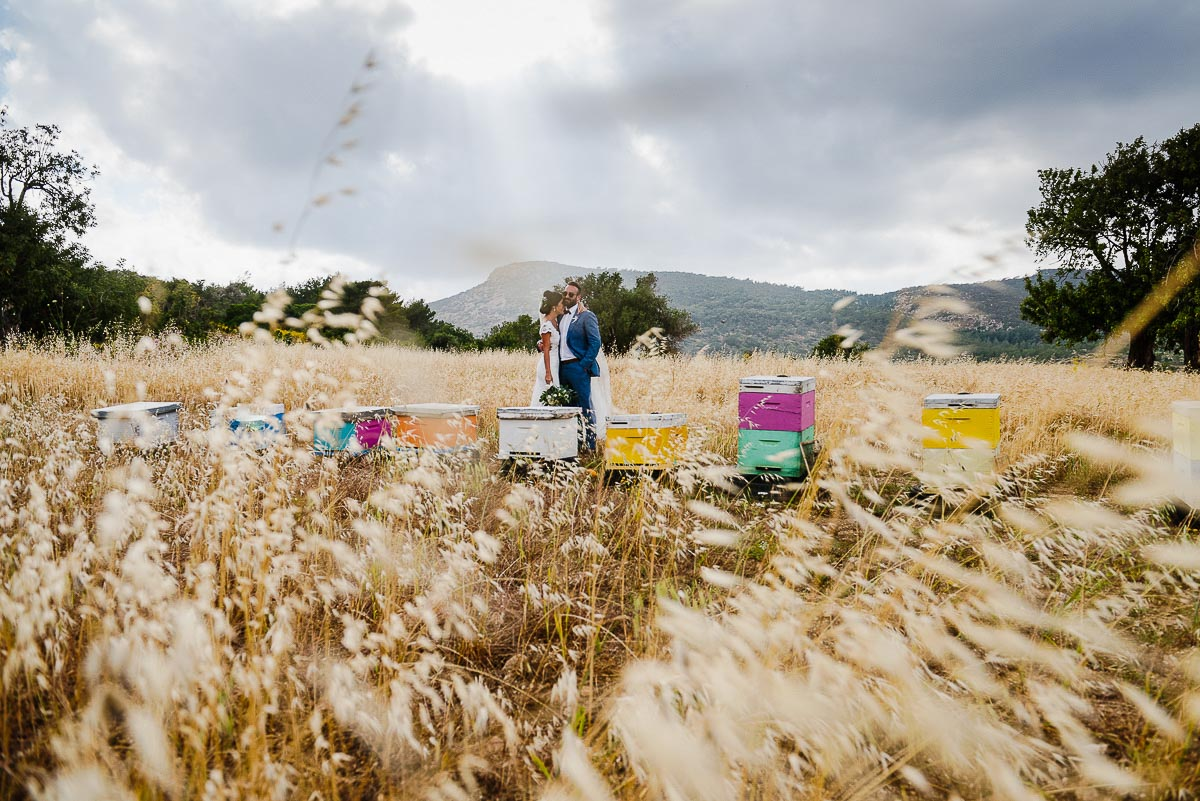 Bride and Groom wedding portraits against Greek landscape in Cyprus