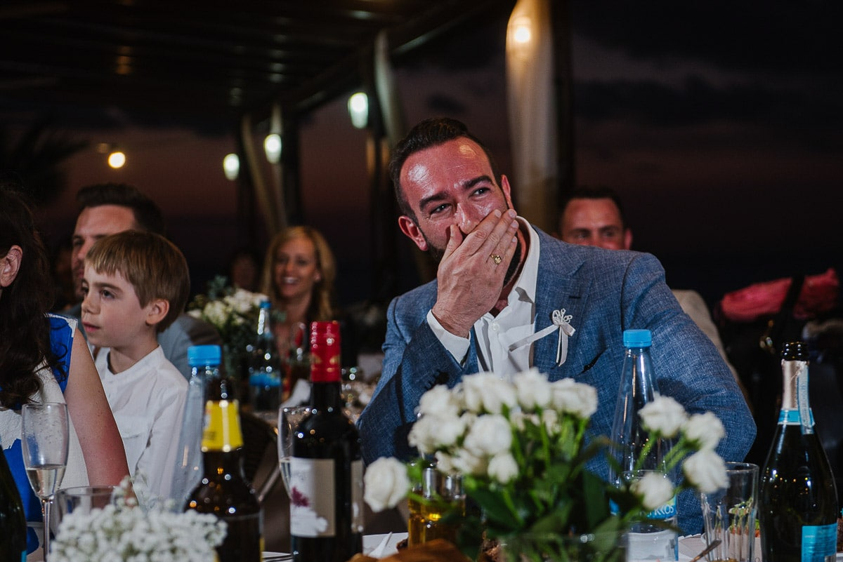 Emotional groom during speeches at Souli Beach Hotel wedding venue