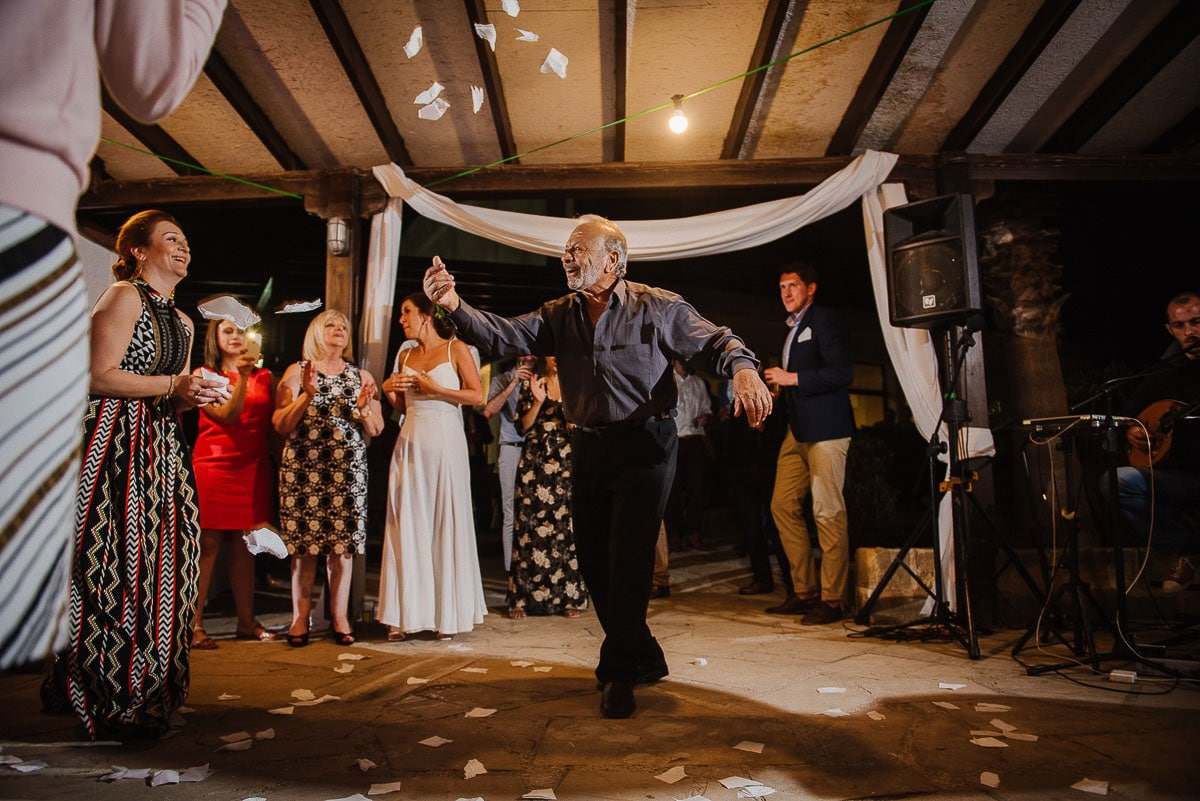 Traditional Greek dancing during Souli beach hotel wedding party