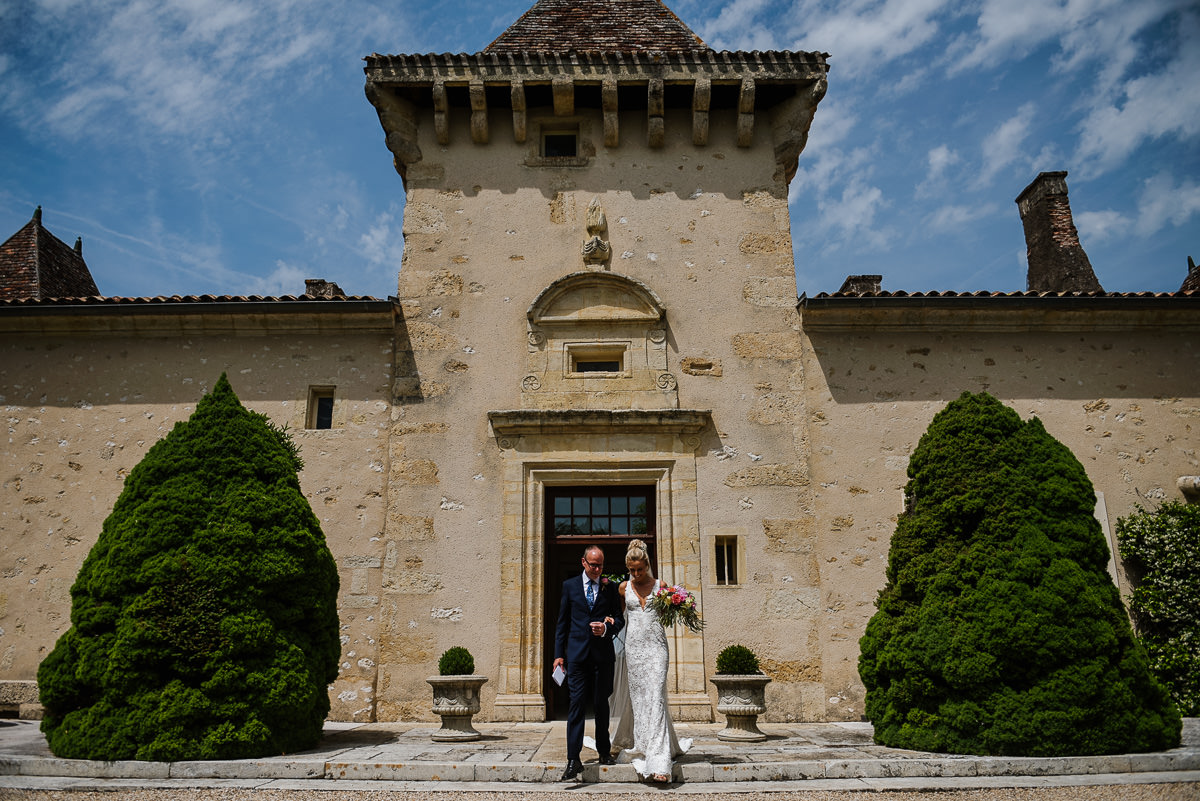 The grand entrance of chateau Soulac in Dordogne France