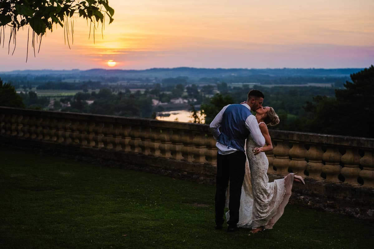 Bride and groom at sunset Dordogne wedding photos France