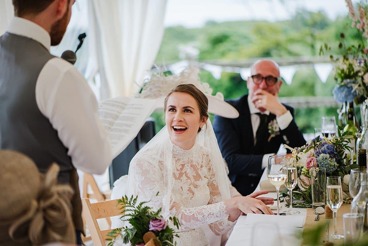 Grooms speech Marquee Penmaen House Wedding photo