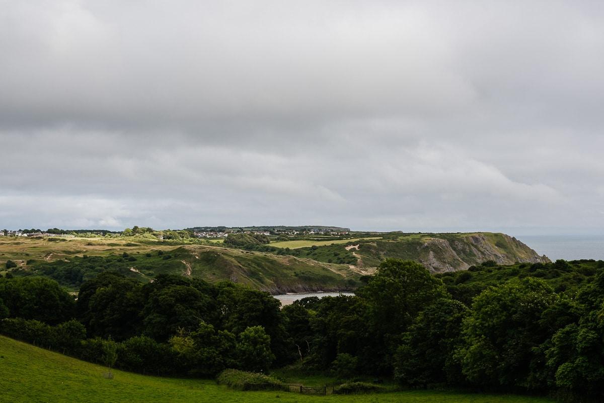 Gower peninsular landscape wedding photo