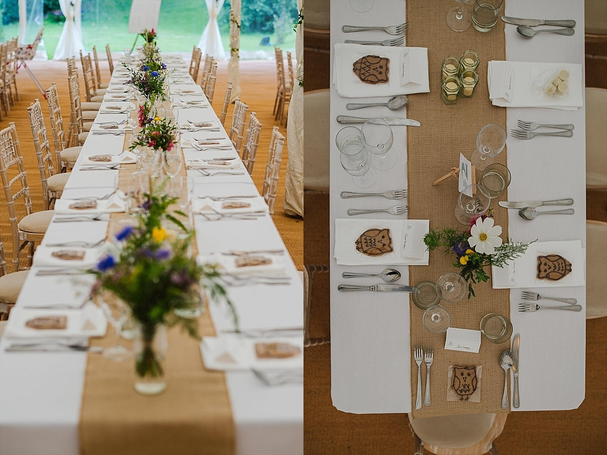 Table decor Cotswolds marquee wedding
