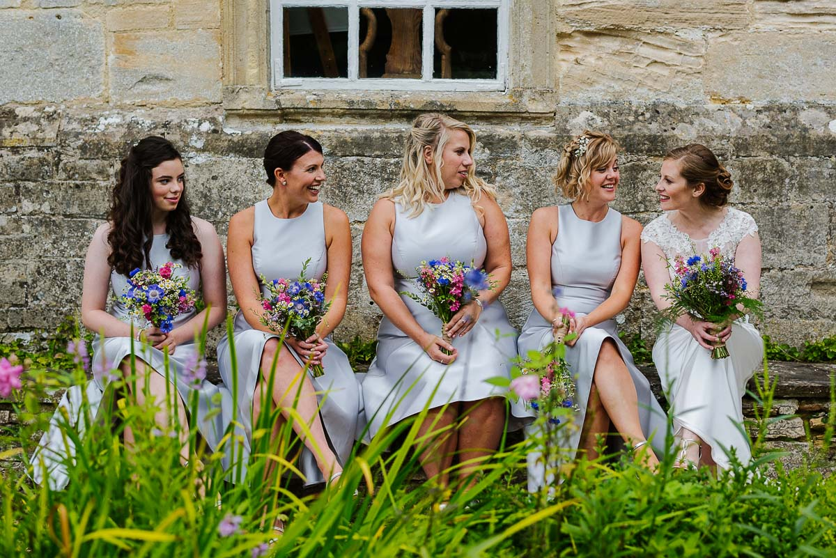 Bridal party Cotswolds summer wedding