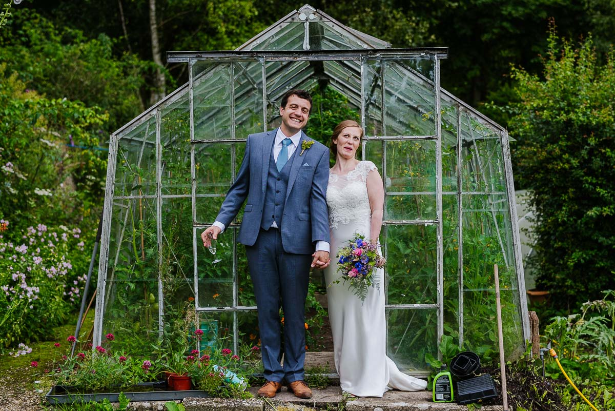 Gloucestershire wedding photos greenhouse garden