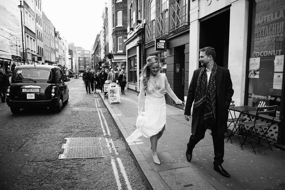 Timeless black and white image of wedding couple in London
