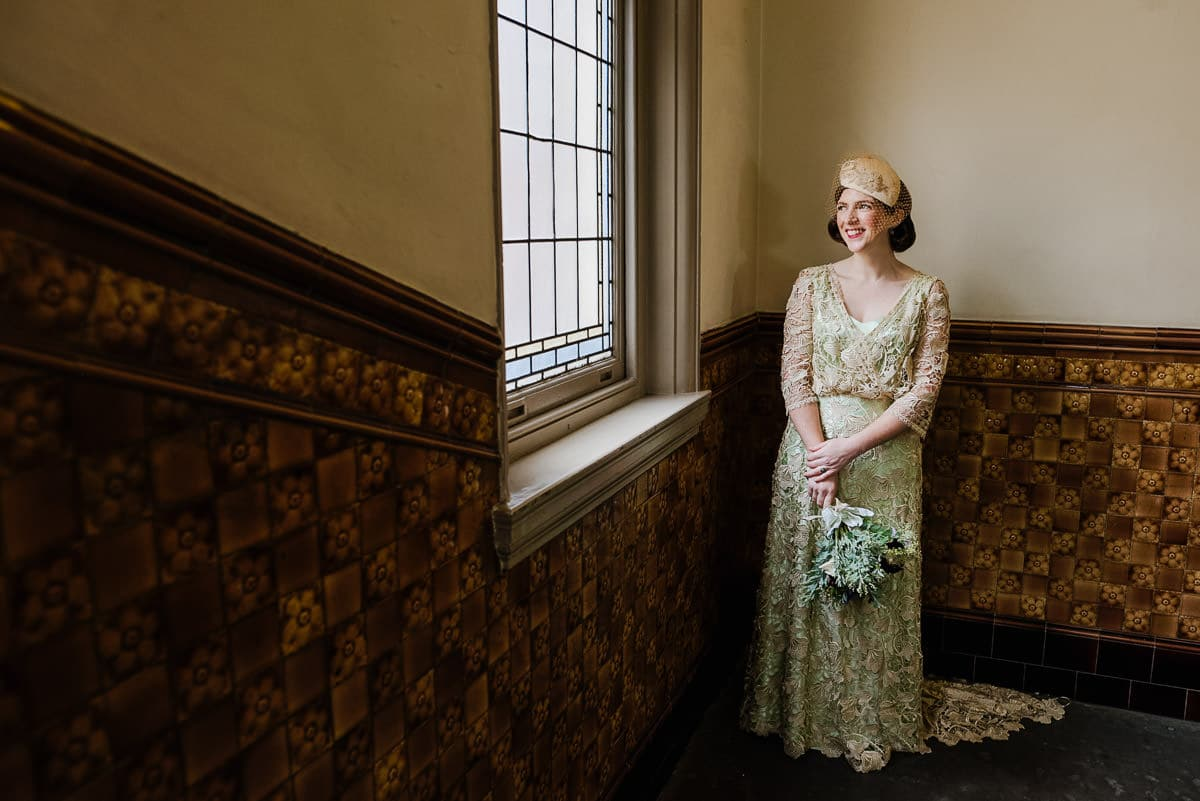 Vintage style wedding dress at Finsbury Town Hall