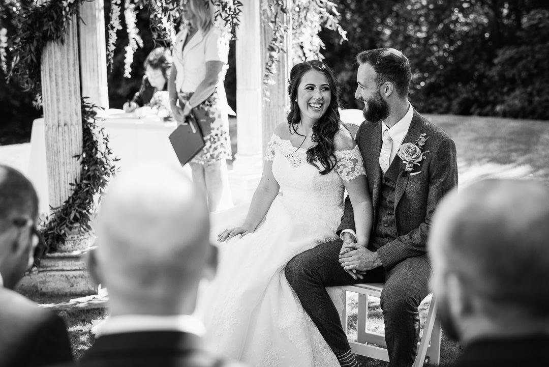 outside ceremony black and white wedding photos