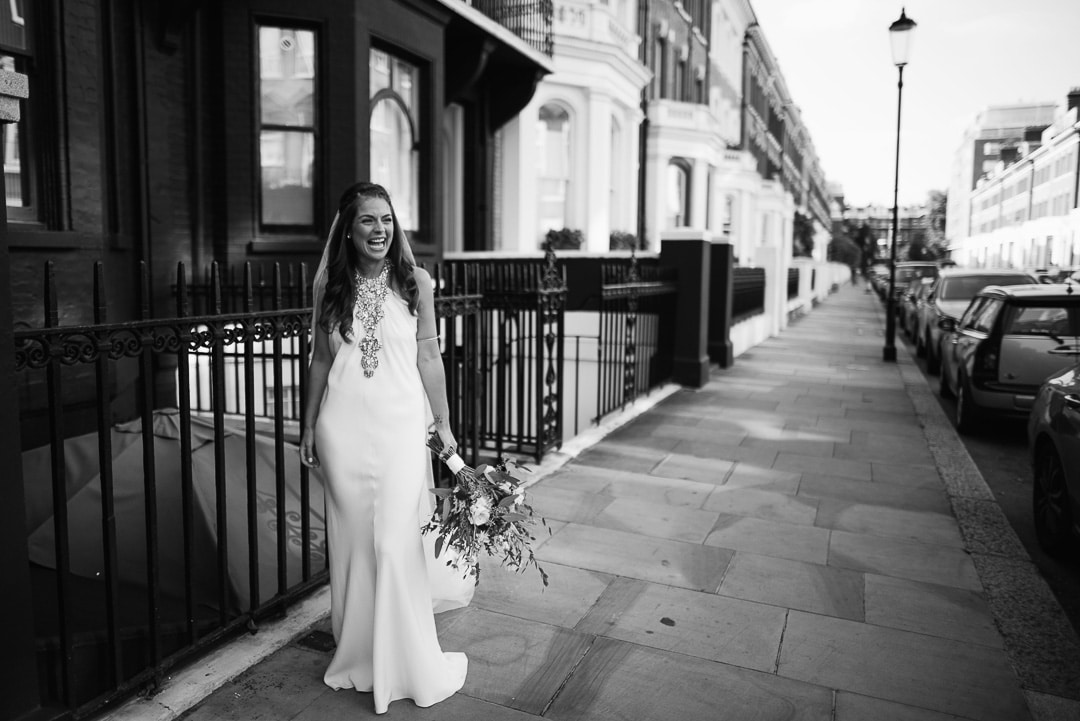 Bride wearing Jenny Packham wedding dress London