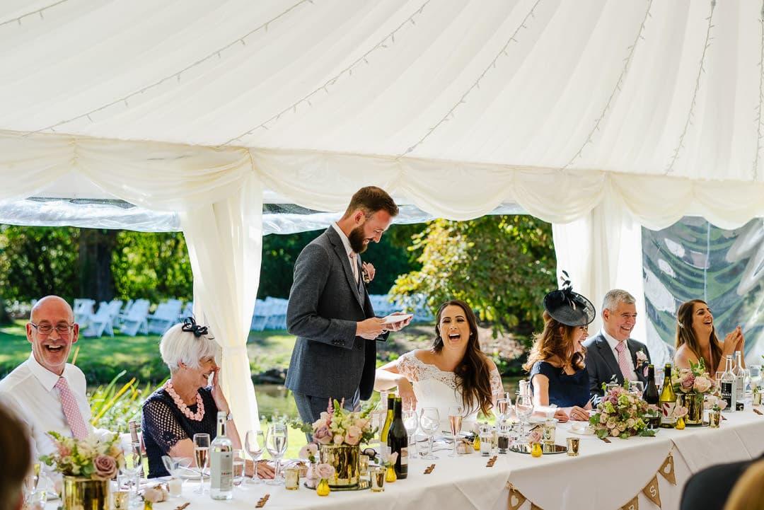 marquee wedding photo speeches ardington house