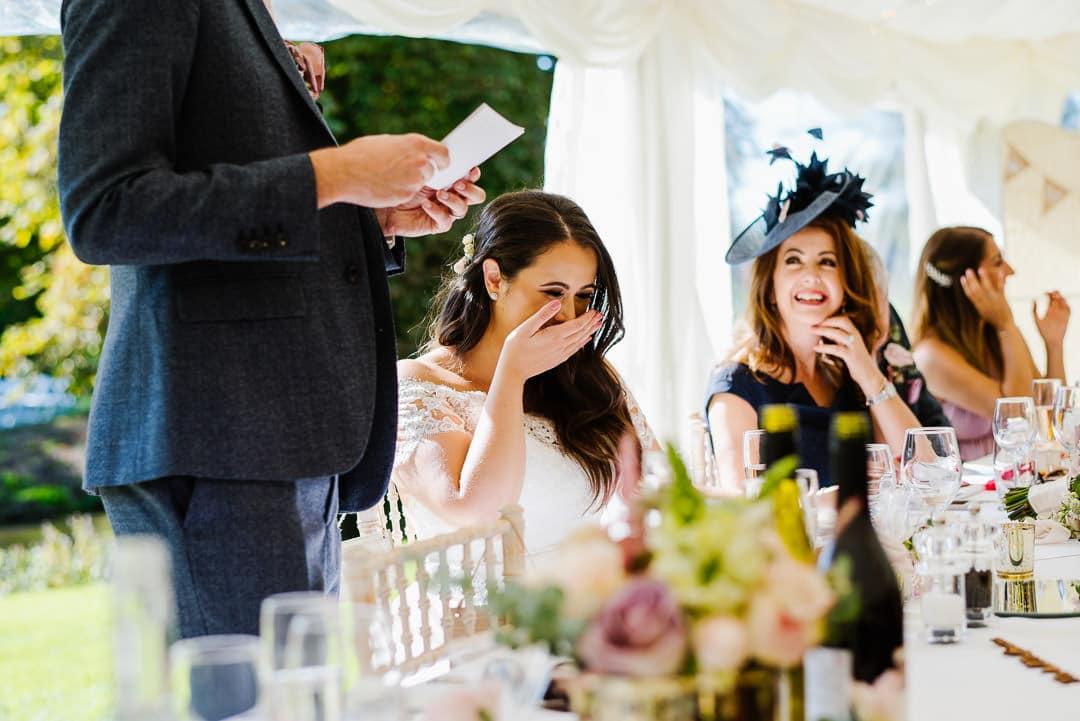 marquee wedding photo emotional speeches ardington house