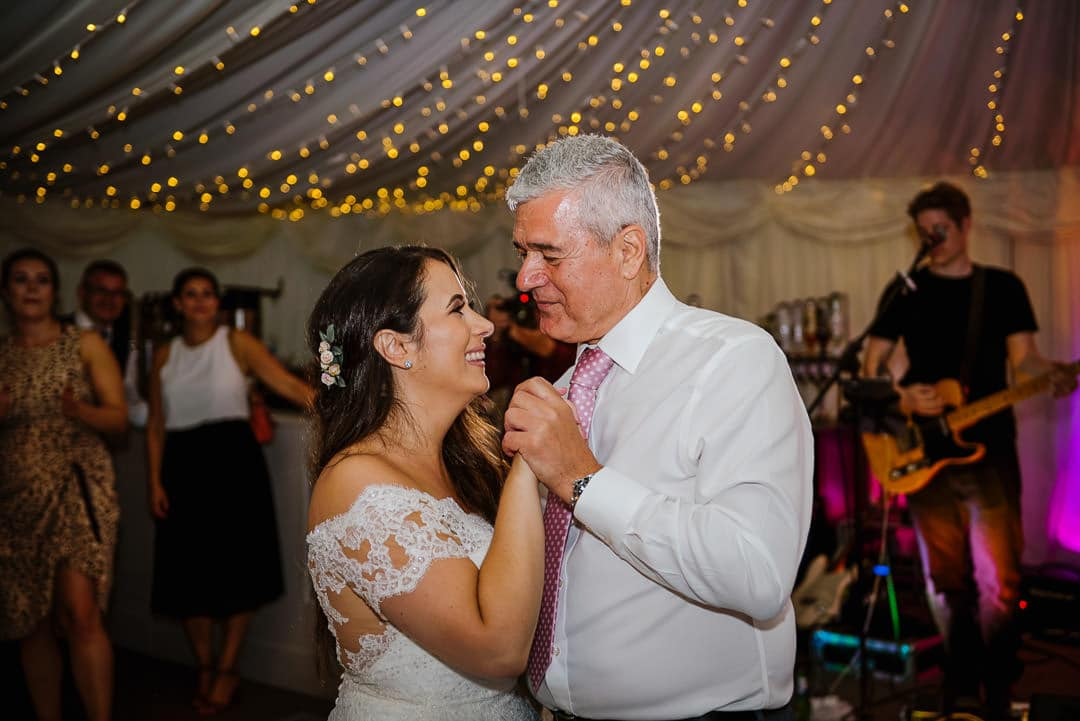 bride with father dance in marquee ardington house wedding