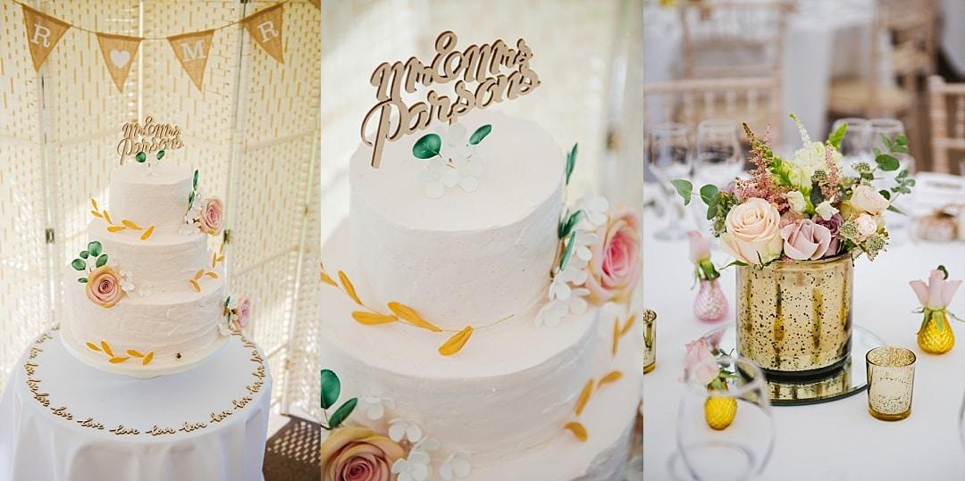 wedding cake table decor details photo
