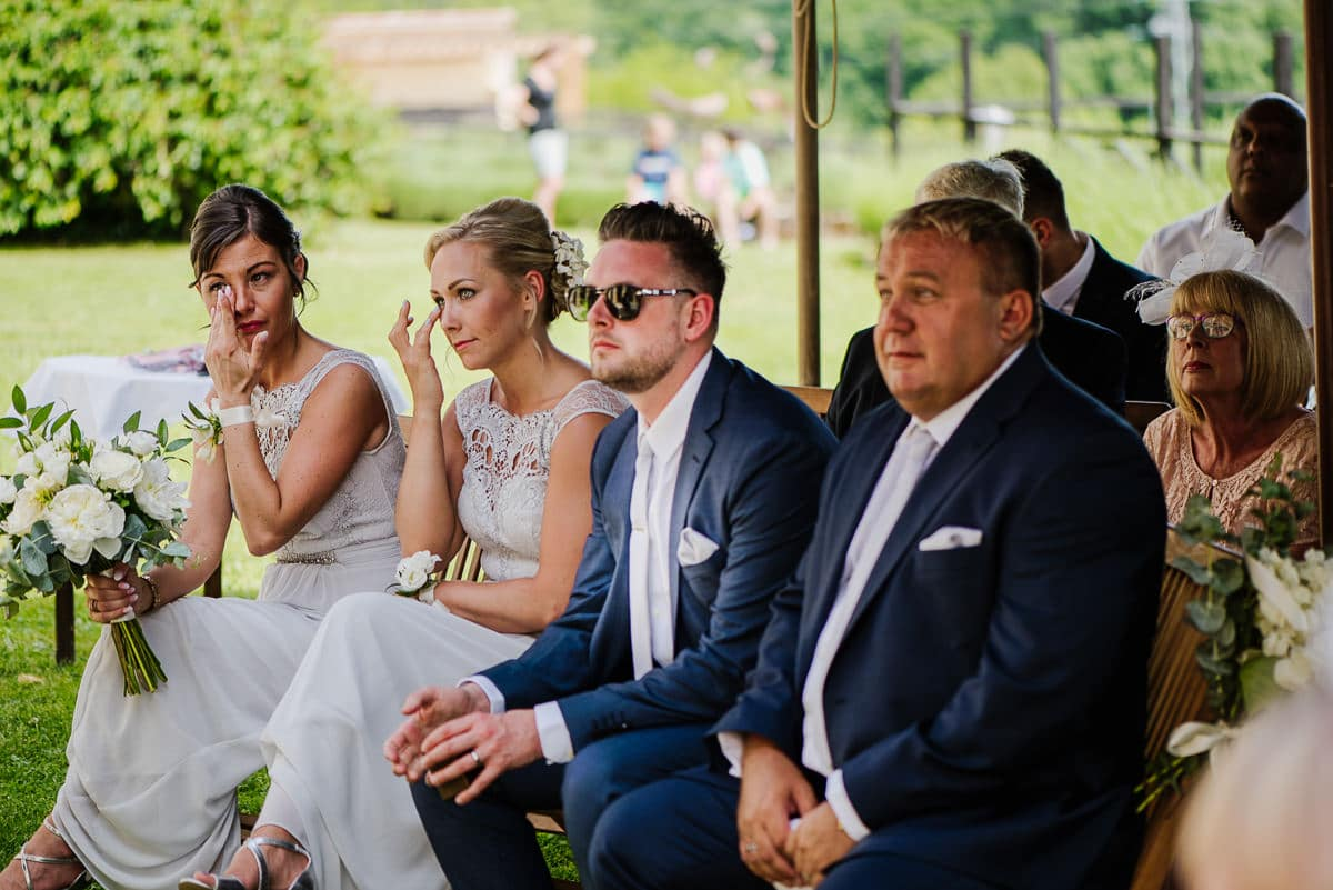 Emotional wedding guests during ceremony at chateau les Merles
