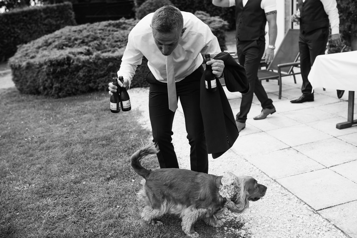 wedding guest with beer bottles talking to dog photo