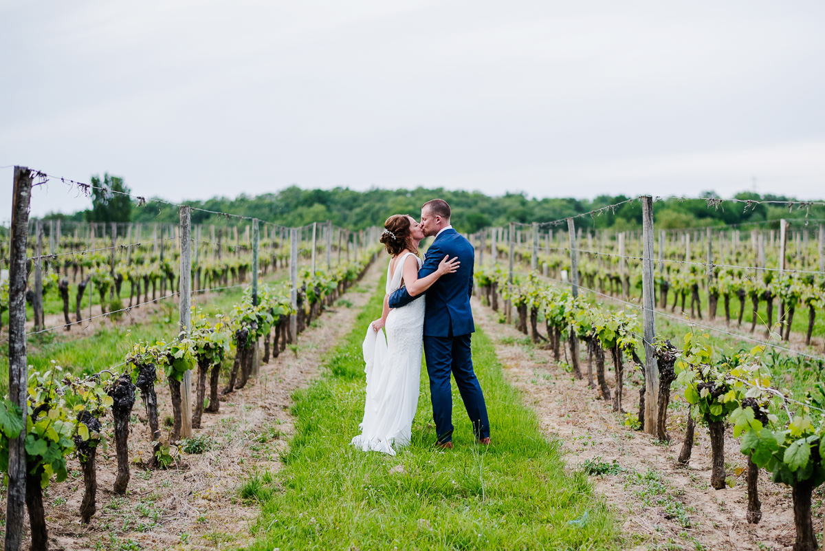 Bride and groom kissing in vineyard on wedding day