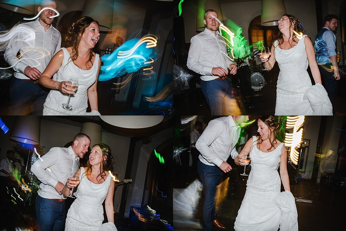 Bride and groom dancing at wedding montage photo