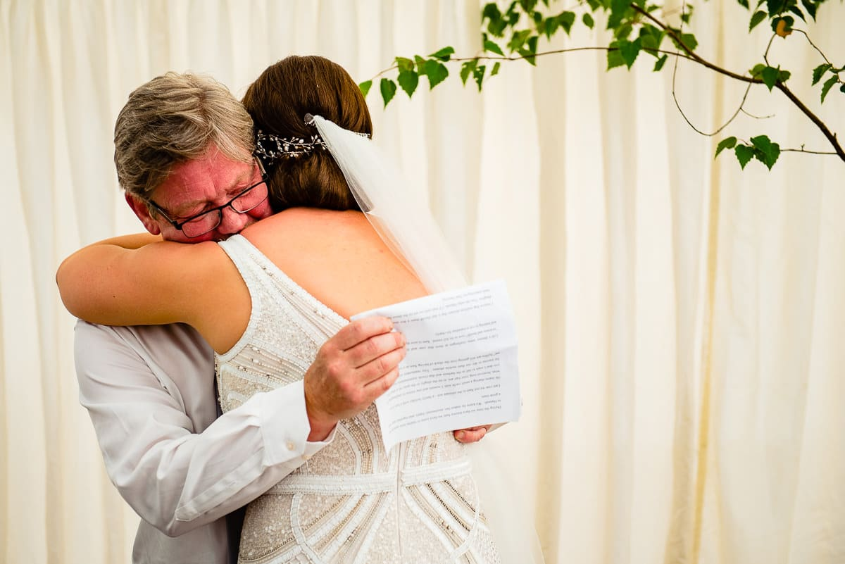 emotional bride thanks father for heartfelt speech