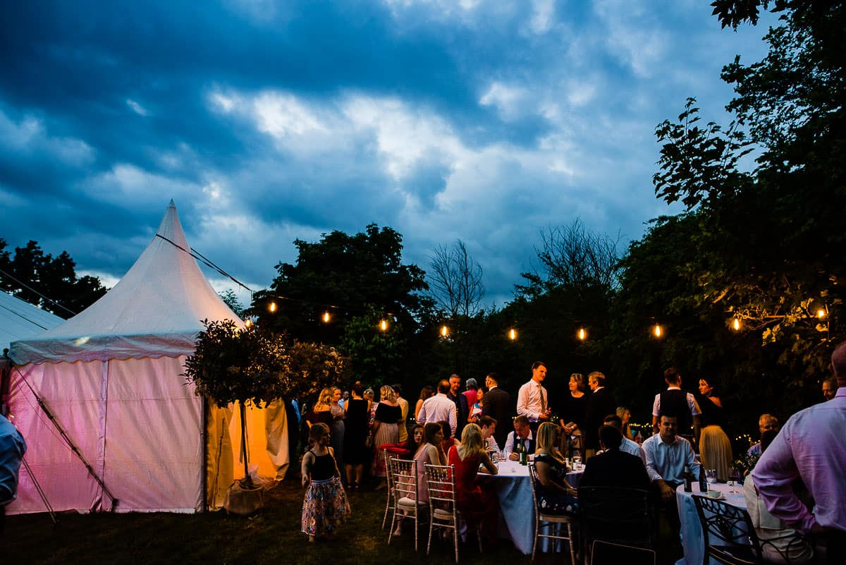 night time lights at the country garden marquee wedding
