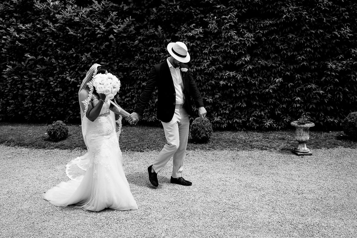 Bride and groom documentary wedding photos Chateau La Guaterie