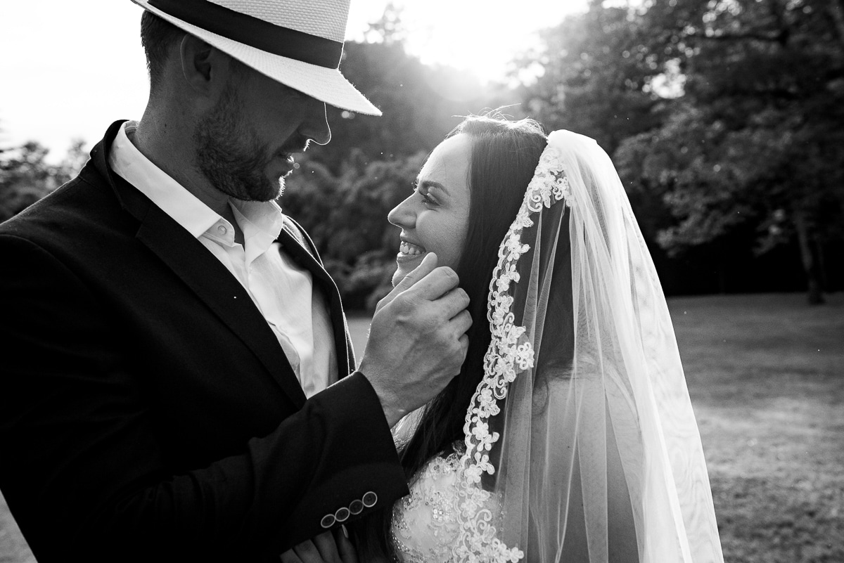 Romantic black and white wedding portraits at Chateau La Guaterie Dordogne France