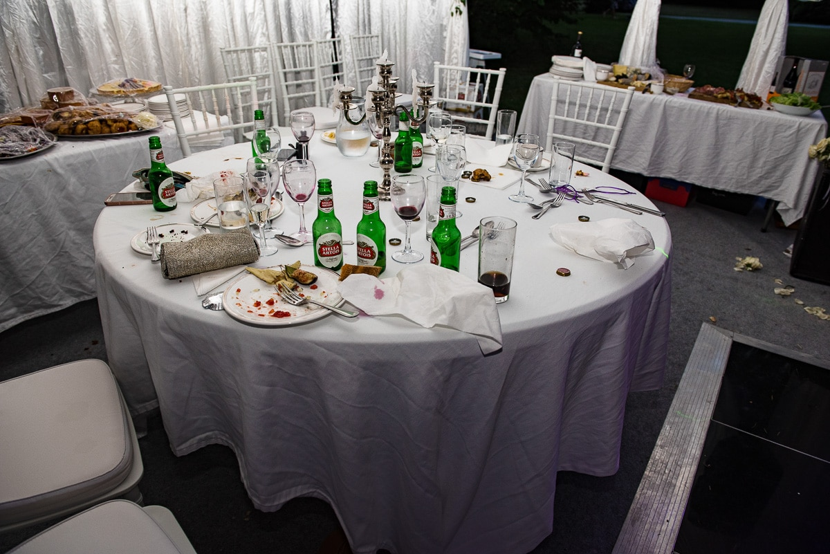 Party aftermath Chateau La Guaterie documentary wedding photography France