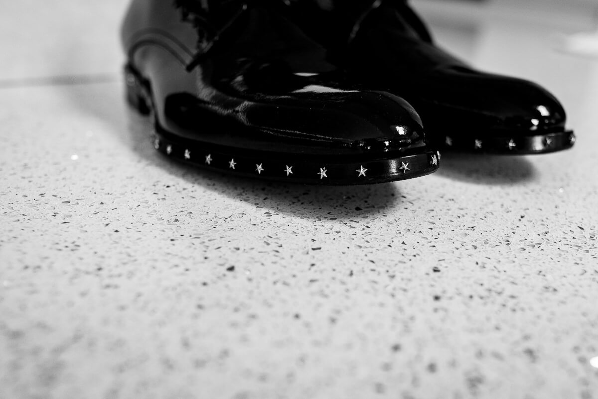 Black and white star detail of fashion designer jimmy choo shoes