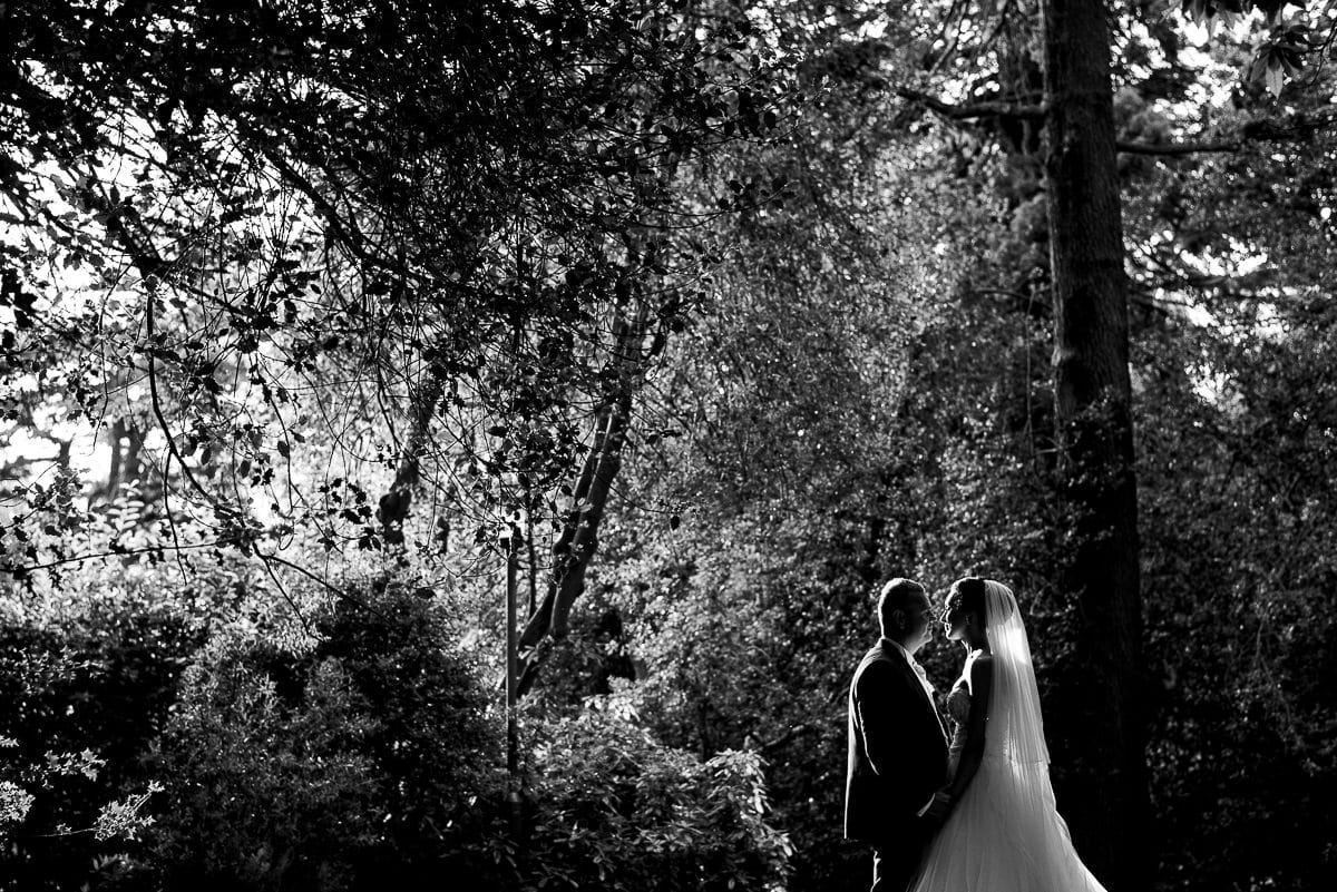 Bride and groom silhouetted against woodlands at countryside wedding venue