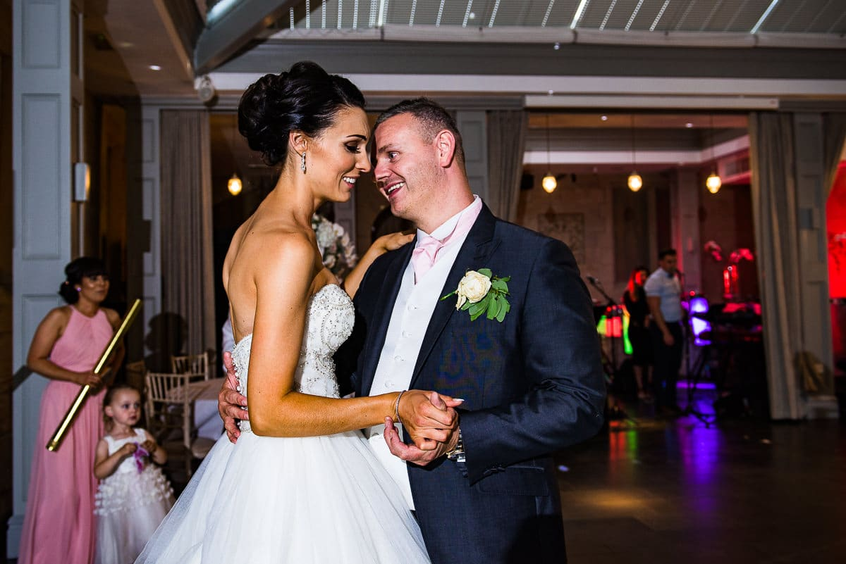 married couple have first dance to brides favourite song from beauty and the beast