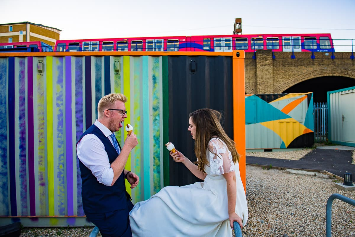 Alternative quirky London wedding venue bride groom ice cream