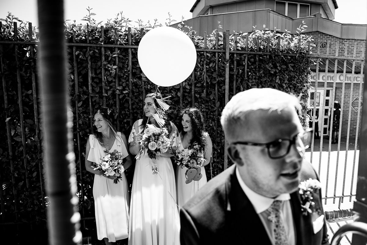 Documentary style photo London wedding day scene