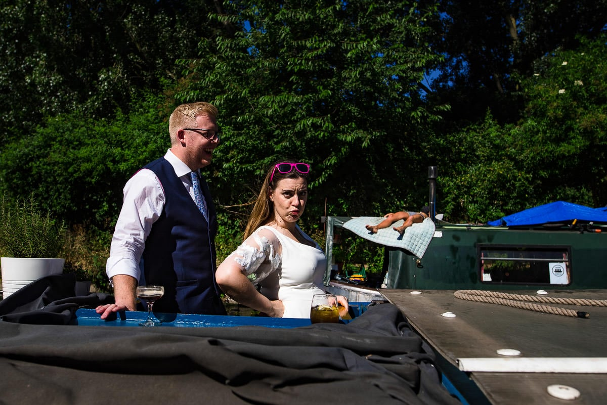 Quirky alternative London wedding in summer on canal boat