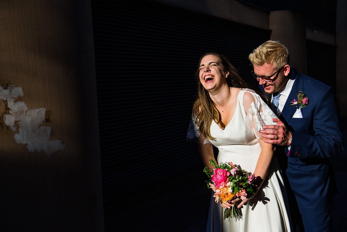 Colourful London wedding bride and groom
