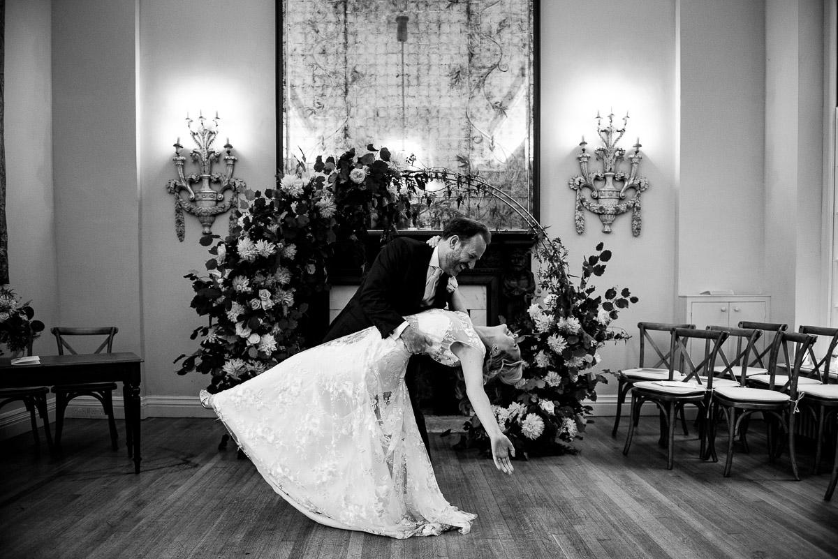 bride and groom ballroom dance in Cornwell manor hall