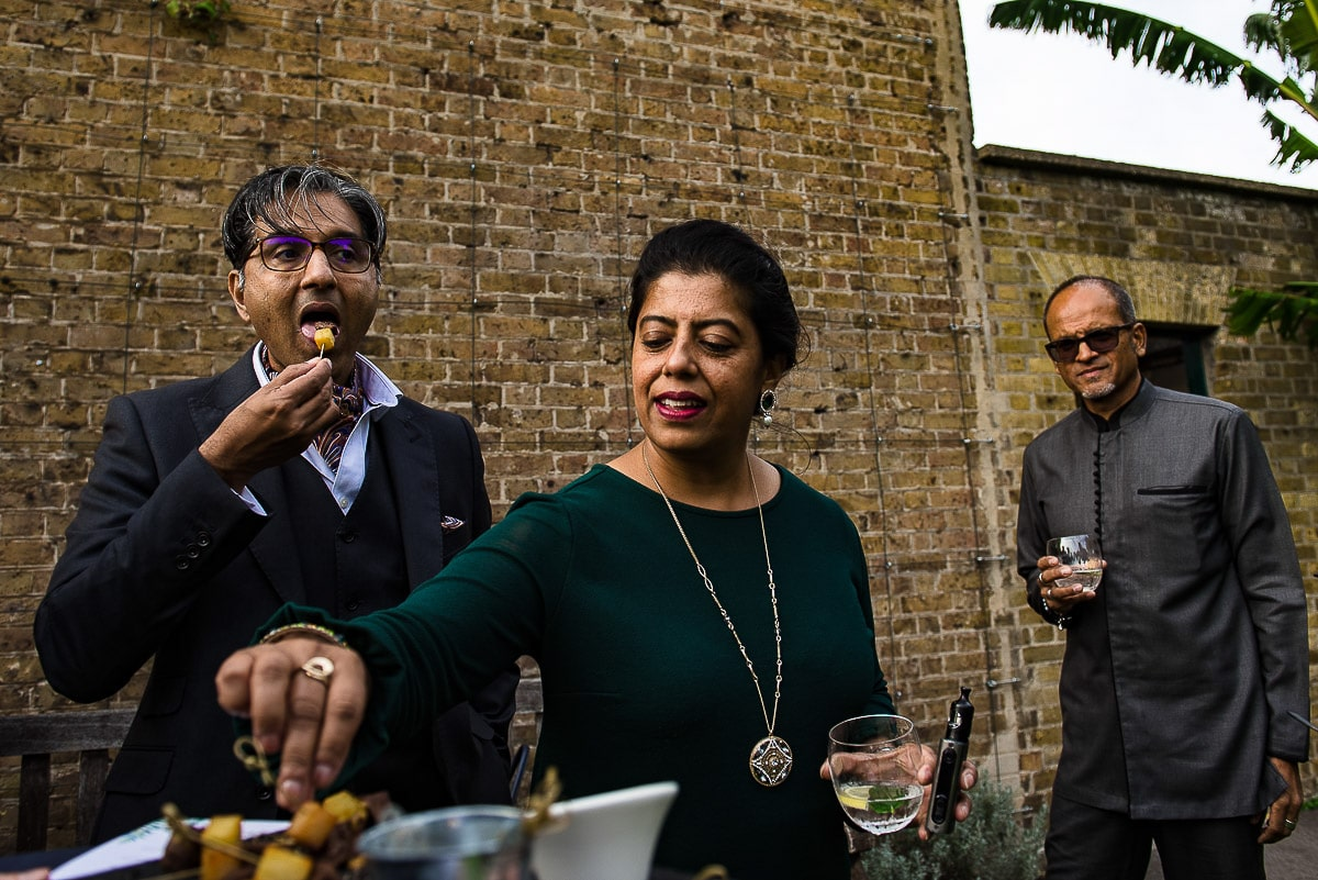 Indian wedding guests tuck in to canapes
