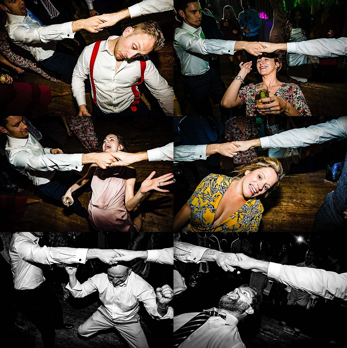 collection of guests playing limbo on the dance floor