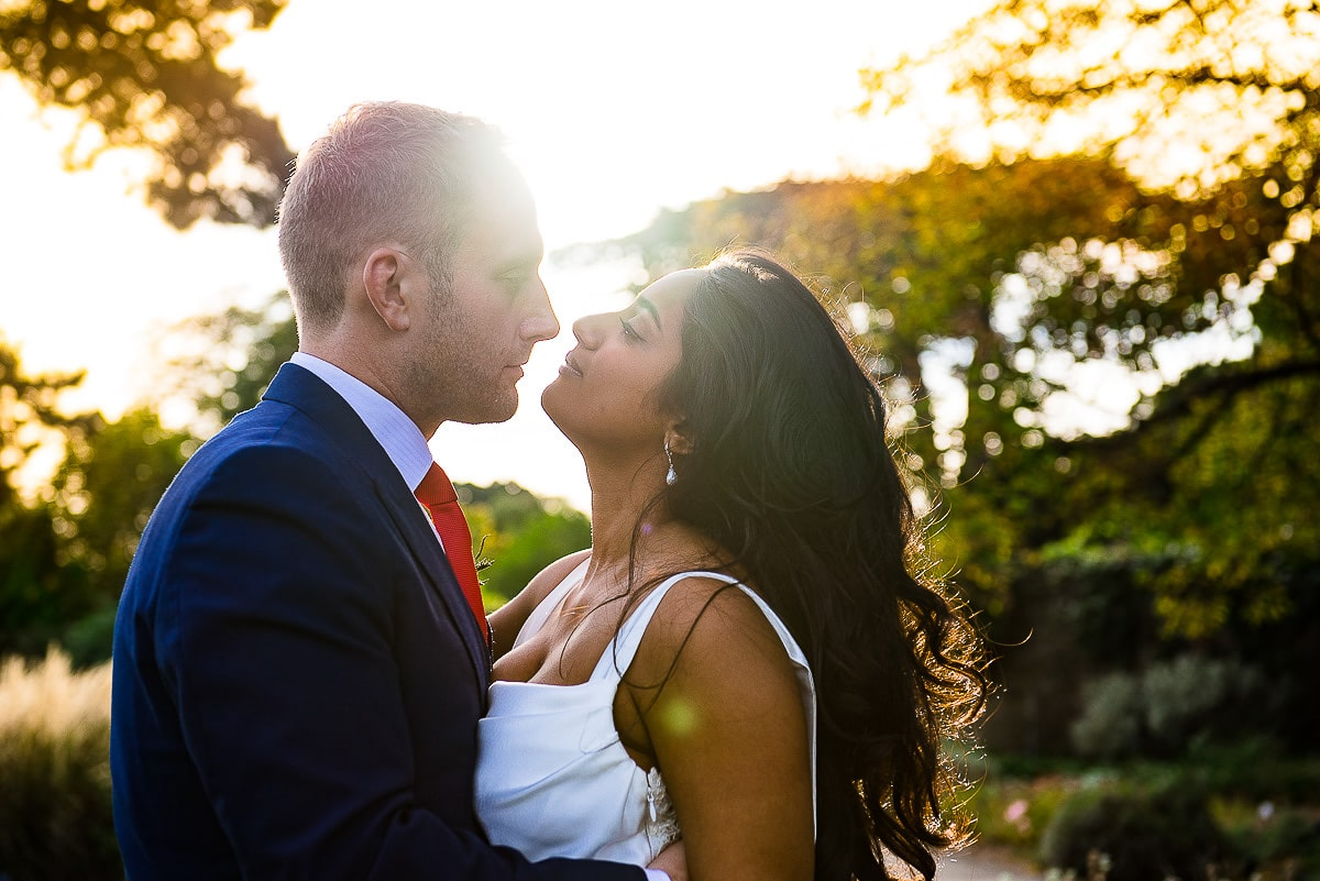 bride and groom backlit romantic sunlit portrait
