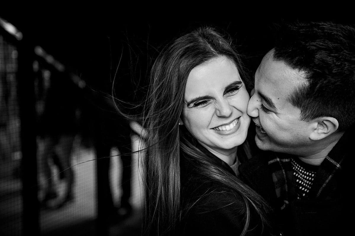 Black and white close up portrait of engaged couple