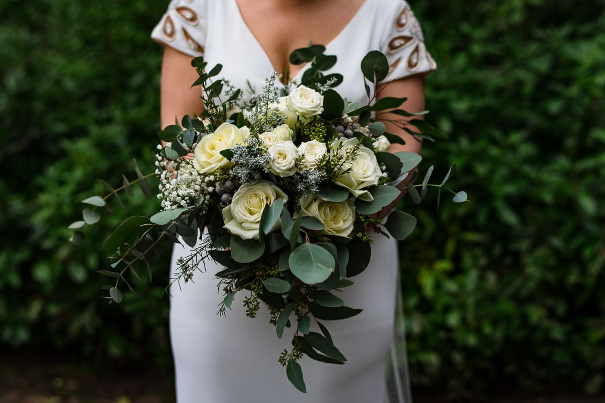 brides white rose bouquet Ava event styling