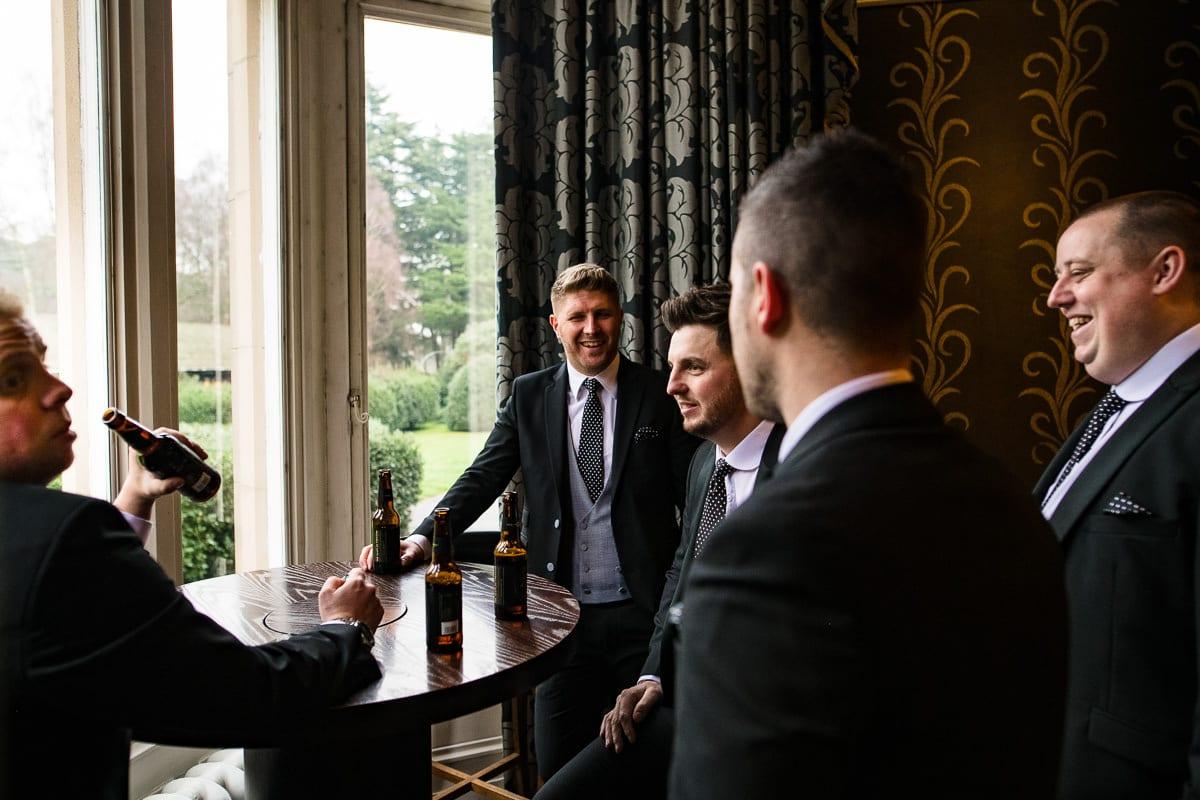 groomsmen drink beer bar Hampton manor hotel solihull