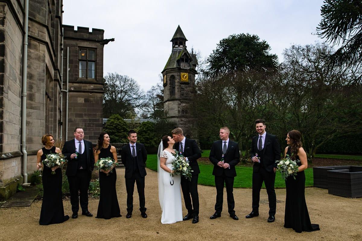 Clock tower Hampton Manor bridal party winter wedding