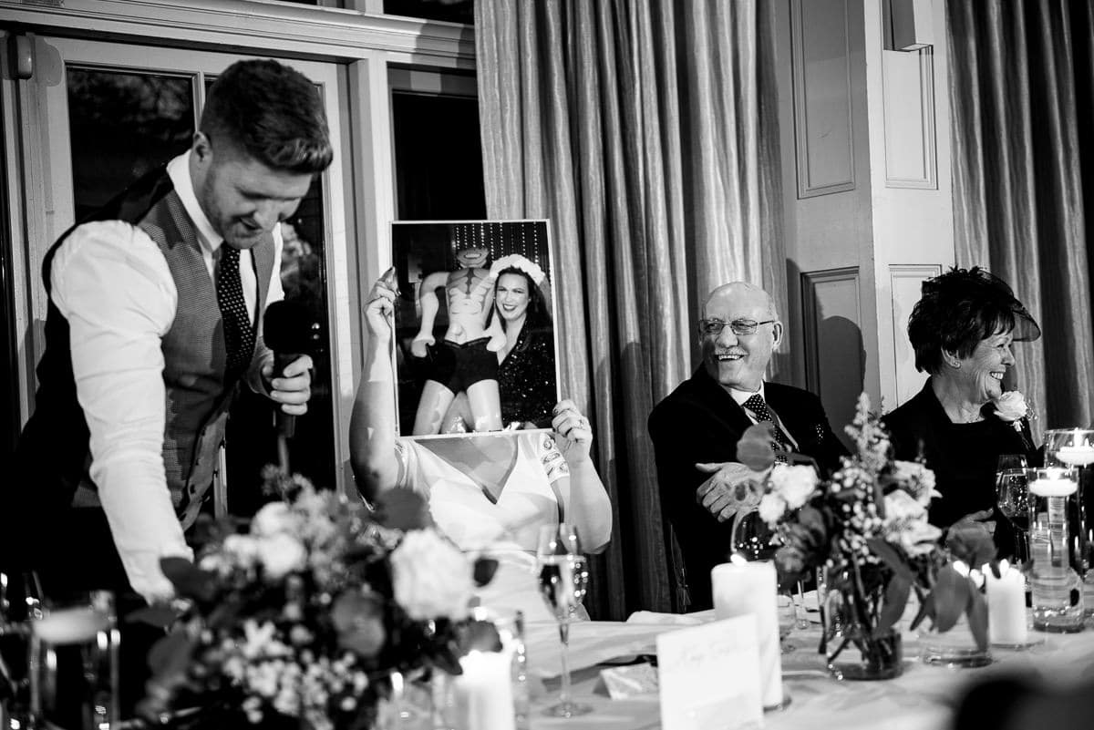 wedding guests blush at embarrassing wedding speech