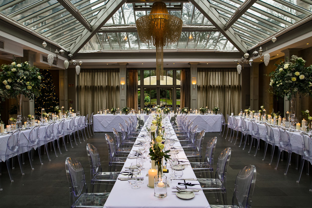 dining banquet room for wedding guests detail