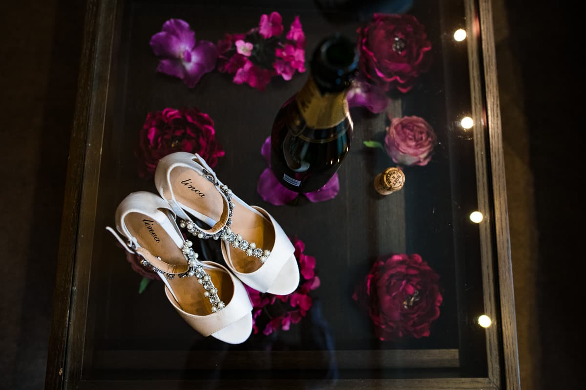 wedding shoes and champagne rose detail