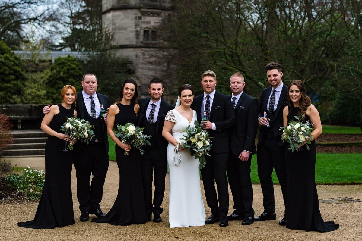 Bridal party winter wedding group photo Hampton Manor