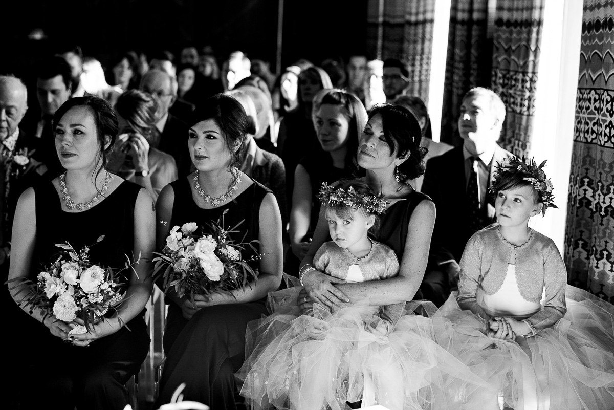 stink-eye from young flower girl Cowley Manor ceremony