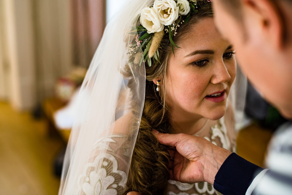 Intricate hair plait brides hair wedding veil