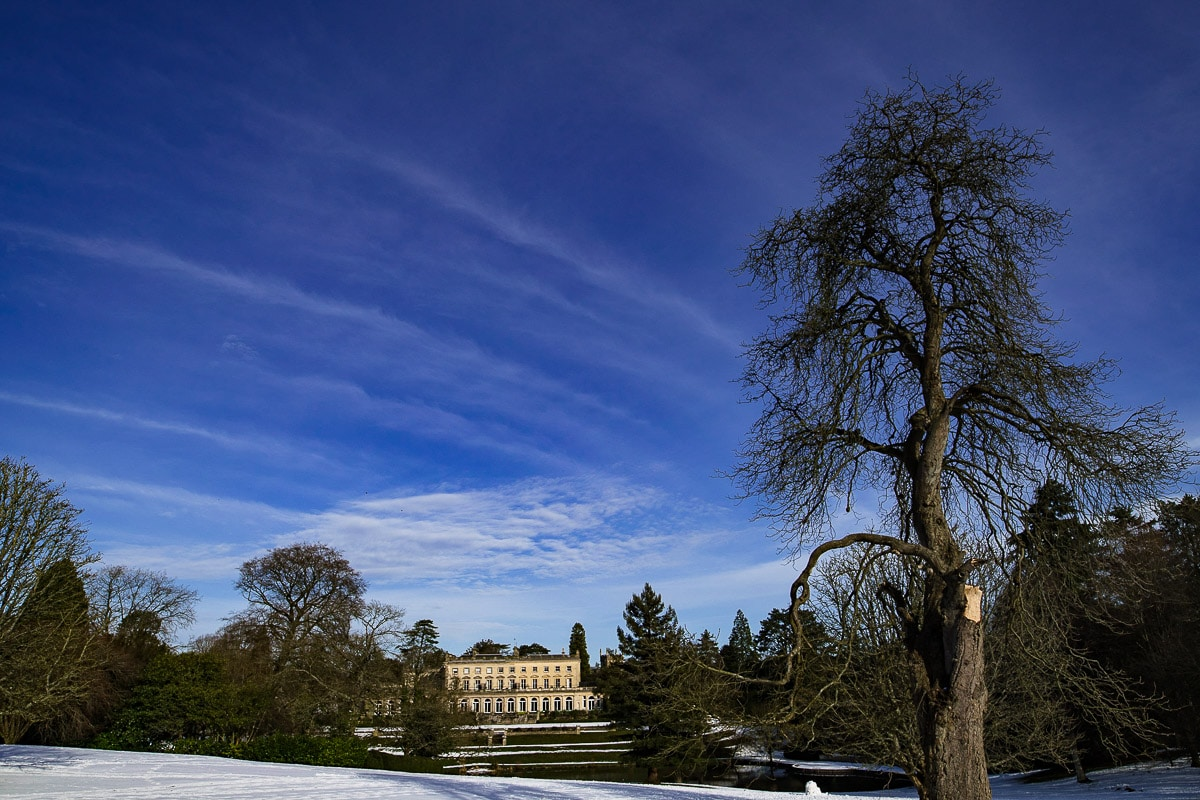 cowley manor wedding winter snow landscape