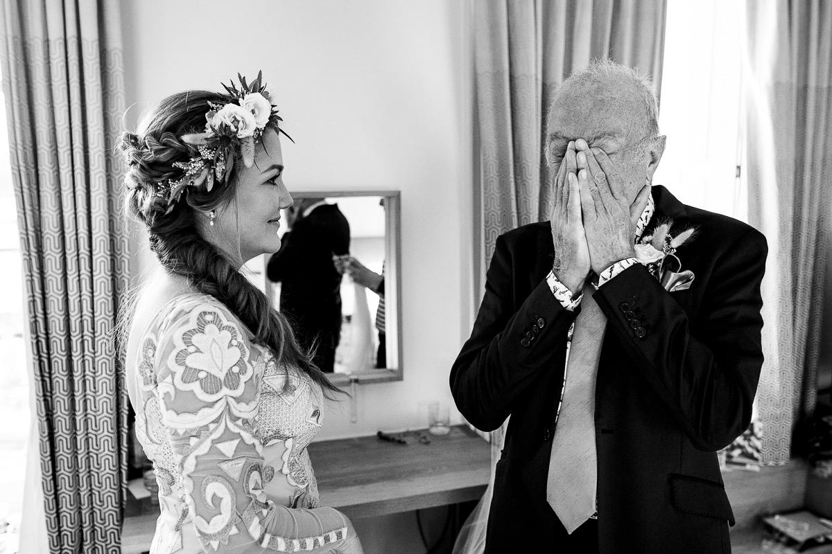 Father of the bride gets emotional moments before wedding